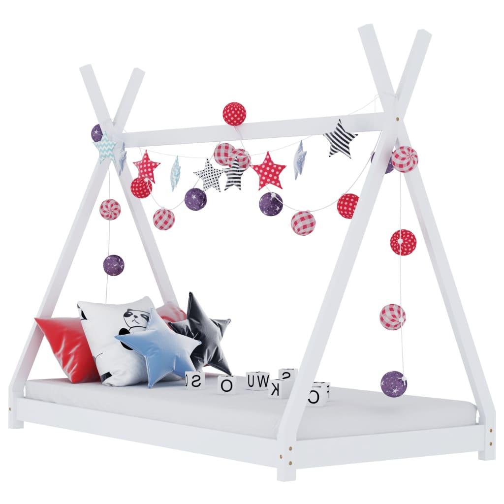 Lastevoodi raam, valge, männipuit, 80 x 160 cm