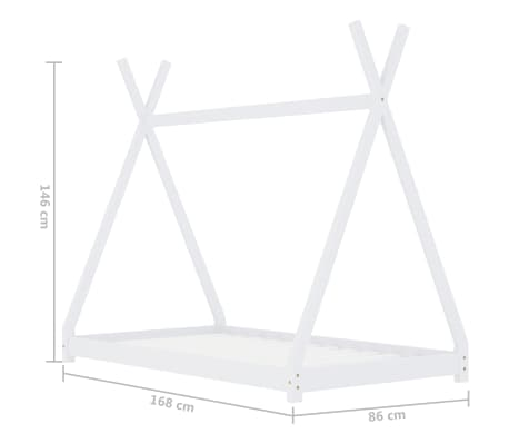 vidaXL Vaikiškos lovos rėmas, baltas, 80x160cm, pušies masyvas[7/7]