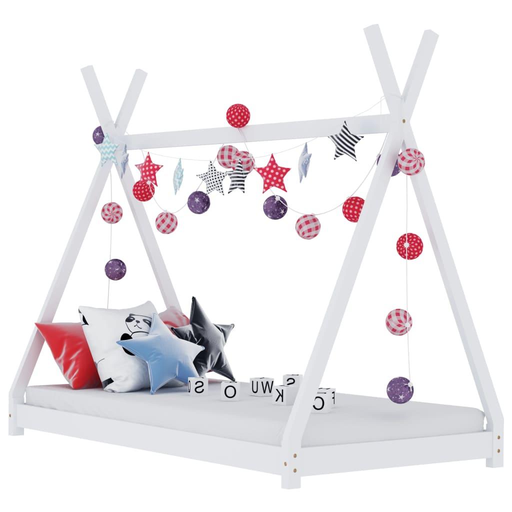 Lastevoodi raam, valge, männipuit, 90 x 200 cm