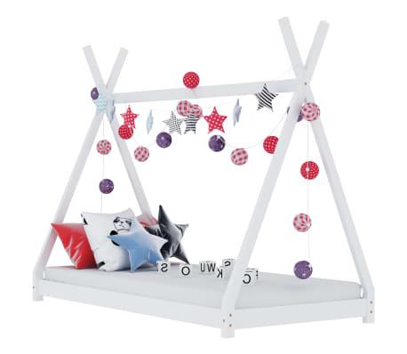 vidaXL Estrutura de cama para crianças 90x200 cm pinho maciço branco