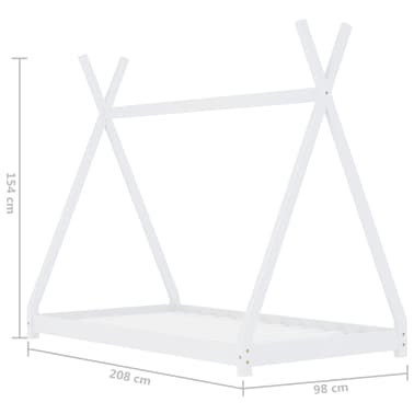 vidaXL Vaikiškos lovos rėmas, baltas, 90x200cm, pušies masyvas[7/7]