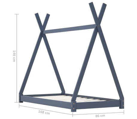 Casdl Kinder-Bettgestell Grau Massivholz Kiefer 80 x 160 cm
