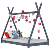 vidaXL bērnu gultas rāmis, pelēks, 90x200 cm, priedes masīvkoks