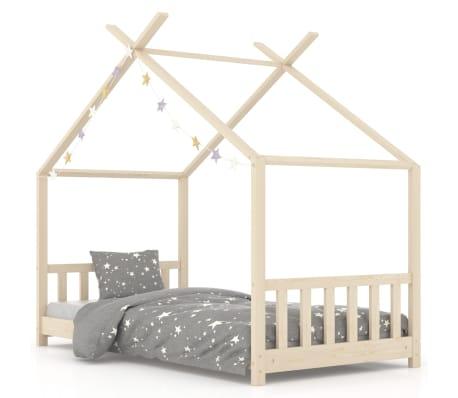 vidaXL bērnu gultas rāmis, 70x140 cm, priedes masīvkoks