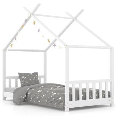 vidaXL Vaikiškos lovos rėmas, baltos spalvos, 70x140cm, pušies masyvas[1/8]