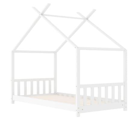 vidaXL Vaikiškos lovos rėmas, baltos spalvos, 70x140cm, pušies masyvas[2/8]
