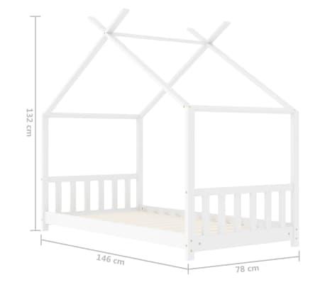 vidaXL Vaikiškos lovos rėmas, baltos spalvos, 70x140cm, pušies masyvas[8/8]