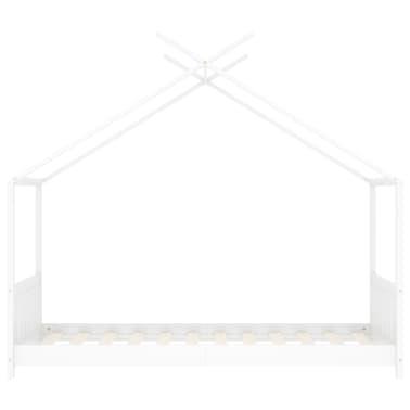 vidaXL Vaikiškos lovos rėmas, baltos spalvos, 70x140cm, pušies masyvas[3/8]