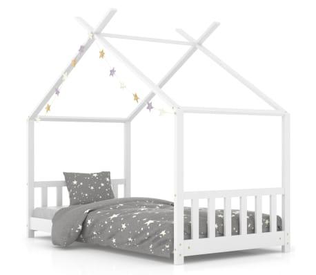vidaXL Vaikiškos lovos rėmas, baltos spalvos, 80x160cm, pušies masyvas[1/8]