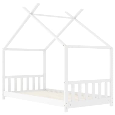 vidaXL Vaikiškos lovos rėmas, baltos spalvos, 80x160cm, pušies masyvas[2/8]