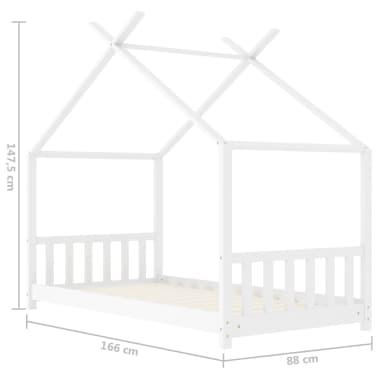 vidaXL Vaikiškos lovos rėmas, baltos spalvos, 80x160cm, pušies masyvas[8/8]