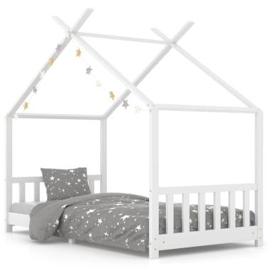 vidaXL Vaikiškos lovos rėmas, baltas, 90x200cm, pušies masyvas[1/8]
