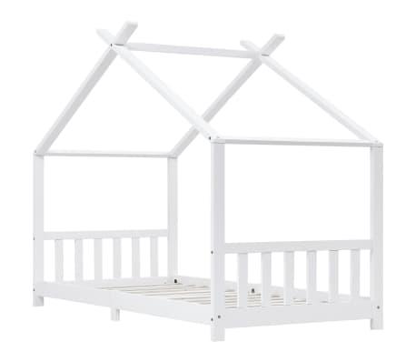 vidaXL Vaikiškos lovos rėmas, baltas, 90x200cm, pušies masyvas[2/8]