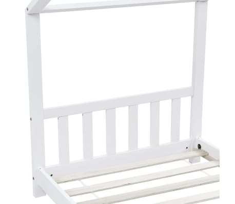 vidaXL Vaikiškos lovos rėmas, baltas, 90x200cm, pušies masyvas[5/8]