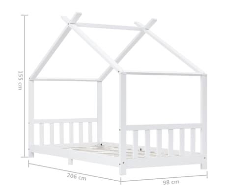 vidaXL Vaikiškos lovos rėmas, baltas, 90x200cm, pušies masyvas[8/8]