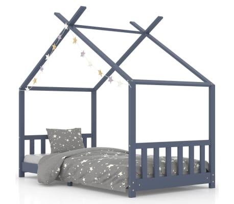 vidaXL Detský posteľný rám sivý 90x200 cm borovicový masív