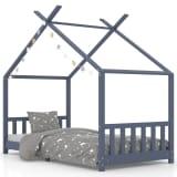 vidaXL Kids Bed Frame Grey Solid Pine Wood 90x200 cm