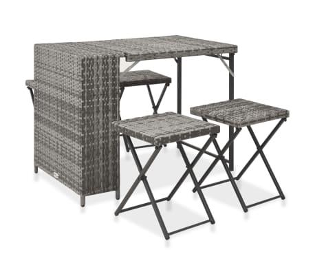 vidaXL 5 Piece Folding Outdoor Dining Set Poly Rattan Grey