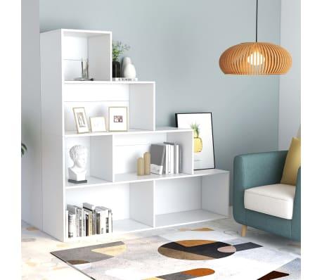 """vidaXL Book Cabinet/Room Divider White 61""""x9.4""""x63"""" Chipboard[1/6]"""