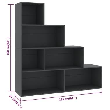 vidaXL Boekenkast/kamerscherm 155x24x160 cm spaanplaat grijs[6/6]