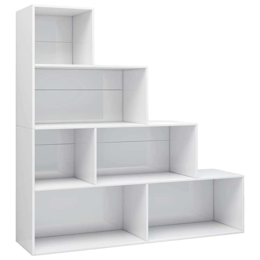 vidaXL Regał na książki/przegroda, wysoki połysk, biały, 155x24x160 cm