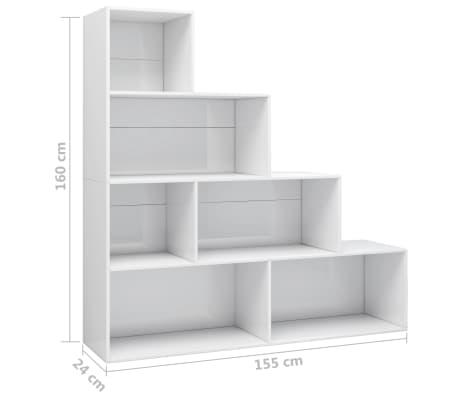 Vidaxl Bucherregal Raumteiler Hochglanz Weiss 155x24x160 Cm