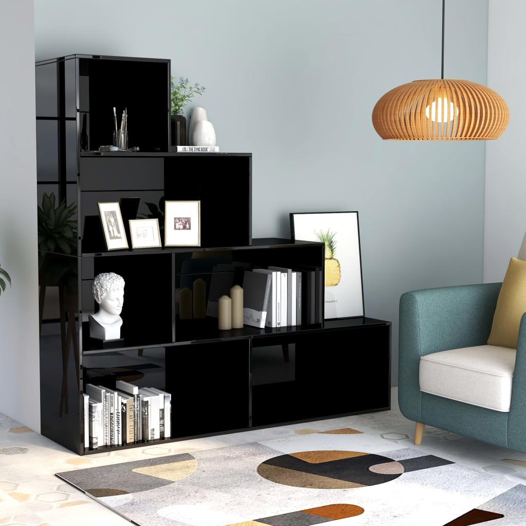 vidaXL Regał na książki/przegroda, wysoki połysk, czarny, 155x24x160cm