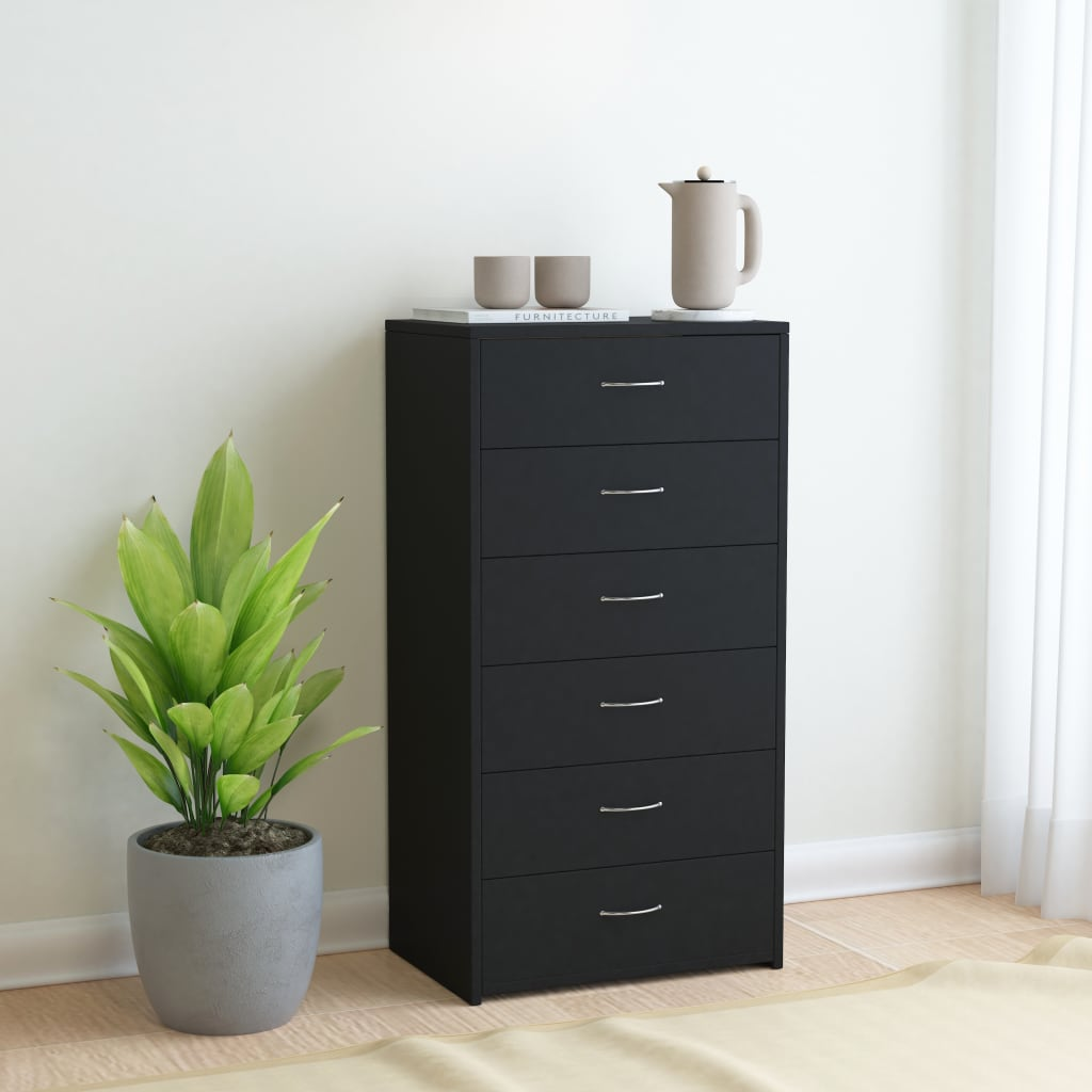 Příborník se 6 zásuvkami černý 50 x 34 x 96 cm dřevotříska