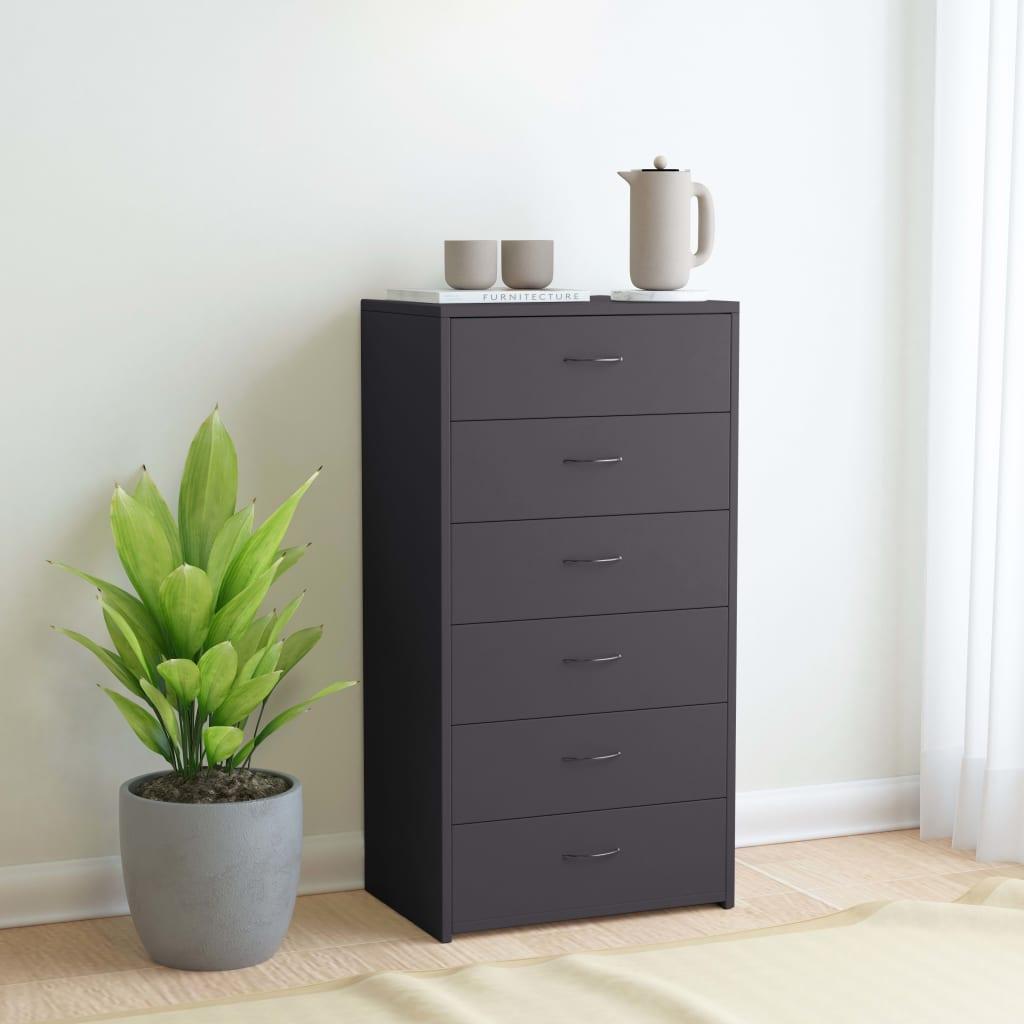 vidaXL Příborník se 6 zásuvkami šedý 50 x 34 x 96 cm dřevotříska