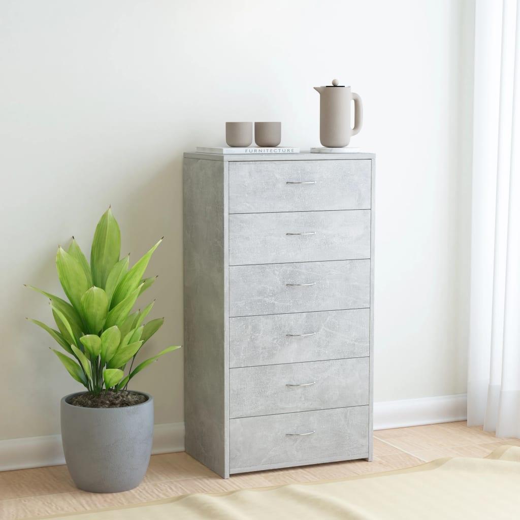 vidaXL Příborník se 7 zásuvkami betonově šedý 50x34x96 cm dřevotříska
