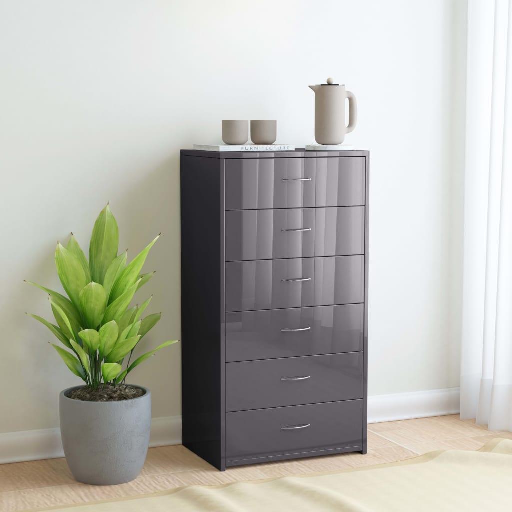 vidaXL Příborník se 6 zásuvkami šedý s leskem 50x34x96 cm dřevotříska