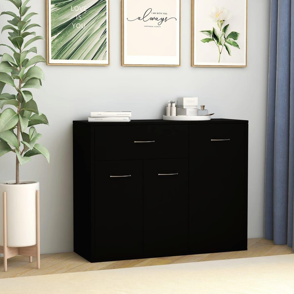 vidaXL Szafka, czarna, 88 x 30 x 70 cm, płyta wiórowa