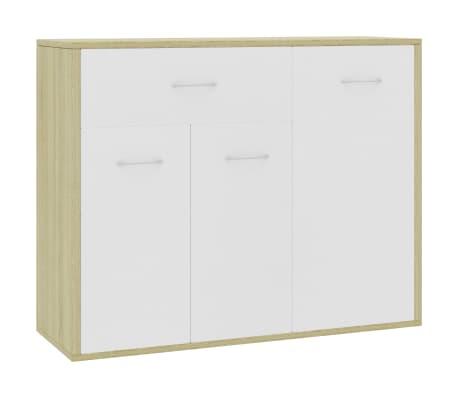 "vidaXL Sideboard White and Sonoma Oak 34.6""x11.8""x27.5"" Chipboard"
