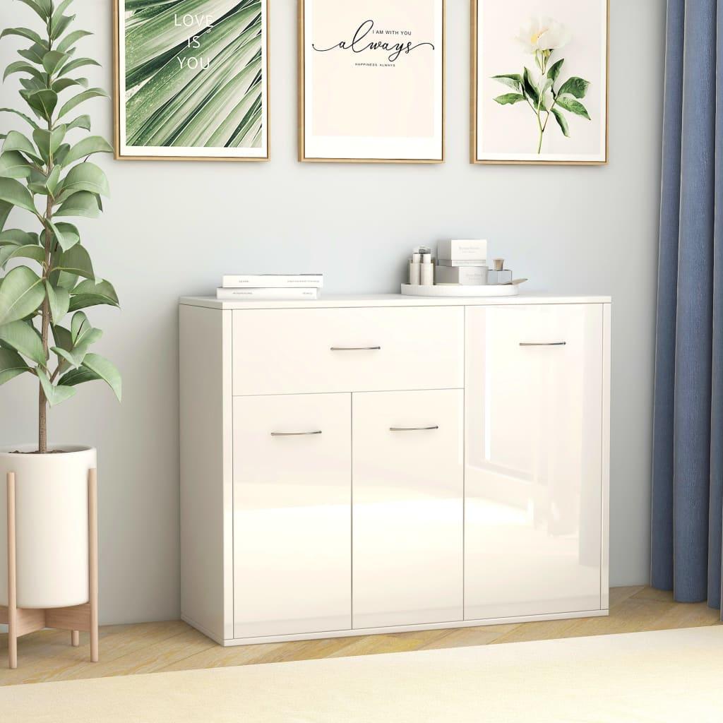 vidaXL Příborník bílý s vysokým leskem 88 x 30 x 70 cm dřevotříska