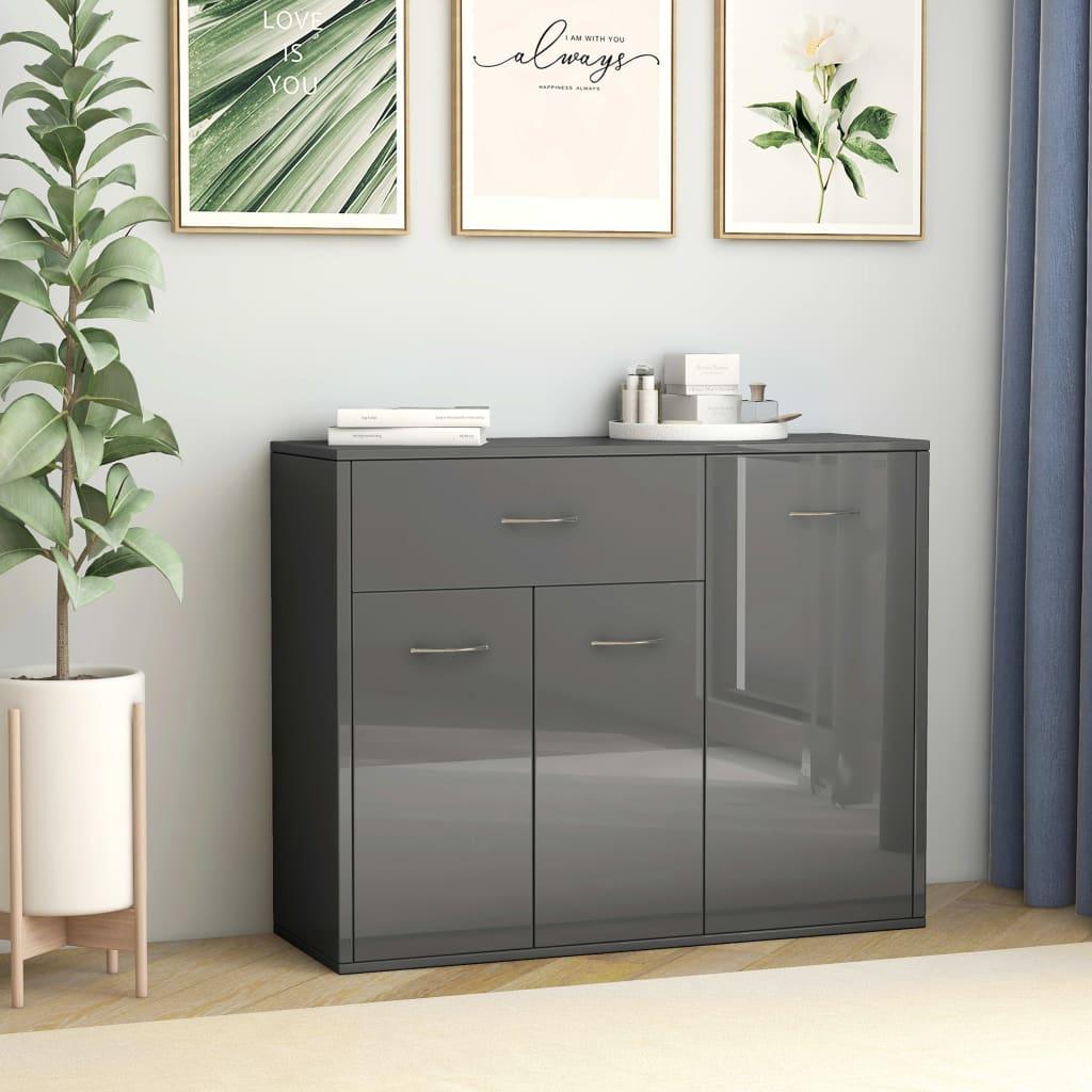 vidaXL Příborník šedý s vysokým leskem 88 x 30 x 70 cm dřevotříska