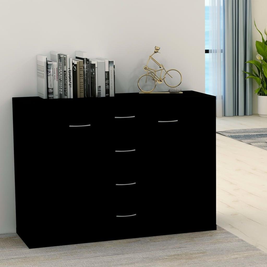 Příborník černý 88 x 30 x 65 cm dřevotříska