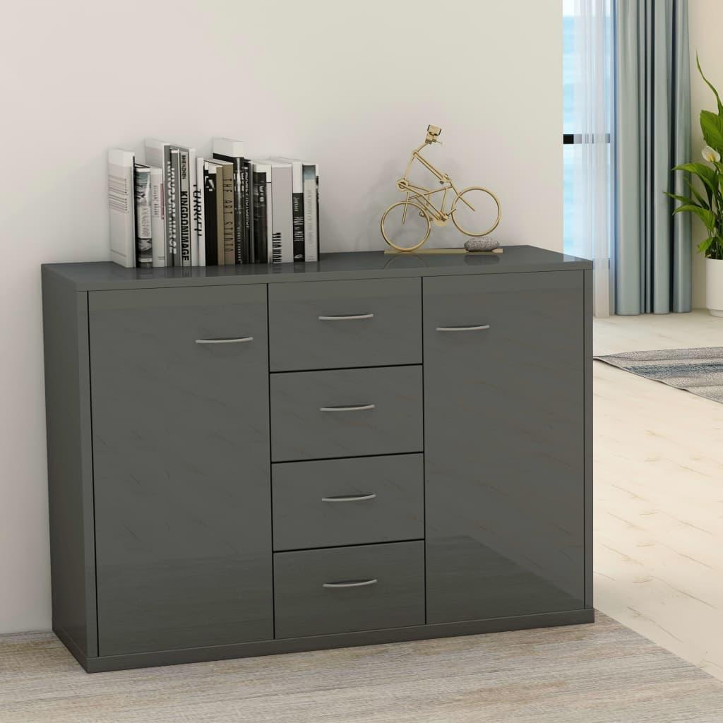 vidaXL Příborník šedý s vysokým leskem 88 x 30 x 75 cm dřevotříska