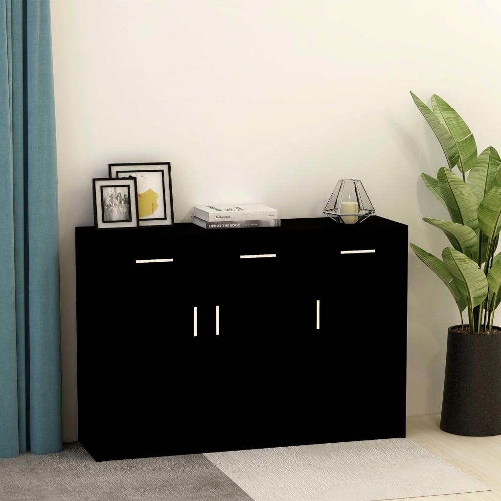 Dressoir 110x30x75 cm spaanplaat zwart