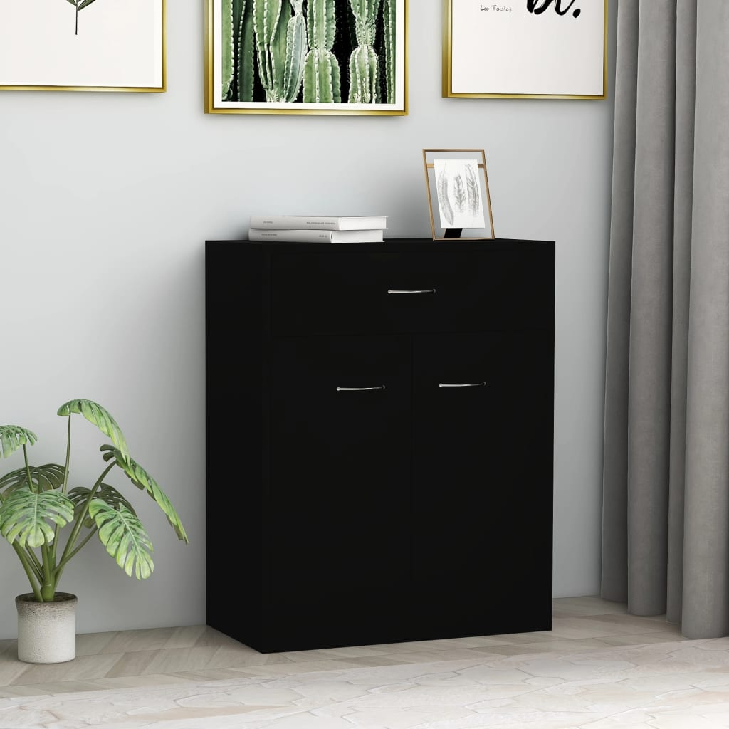 vidaXL Příborník černý 60 x 30 x 75 cm dřevotříska