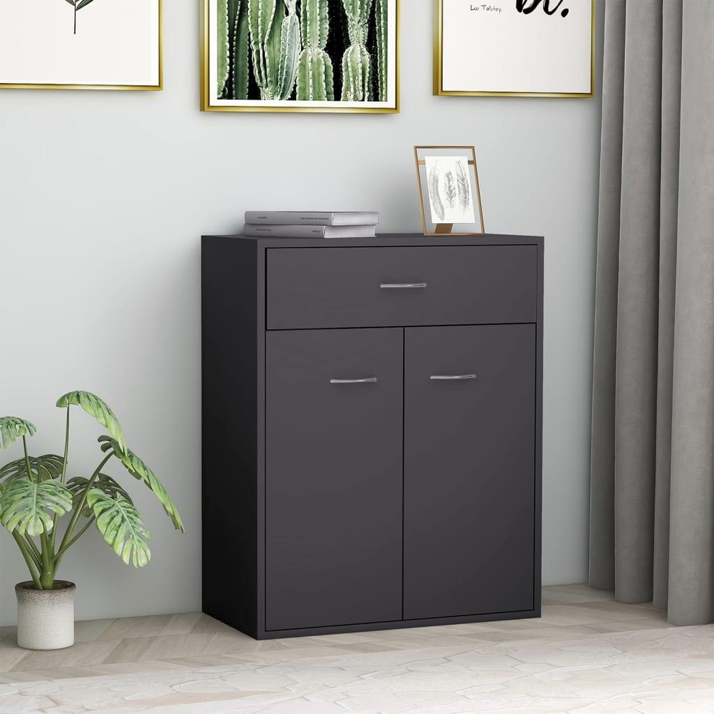vidaXL Příborník šedý 60 x 30 x 75 cm dřevotříska