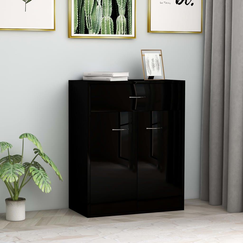 vidaXL Příborník černý s vysokým leskem 60 x 30 x 75 cm dřevotříska