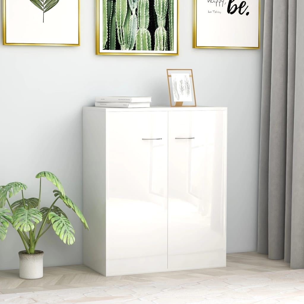 vidaXL Sideboard High Gloss White 60x30x75 cm Chipboard