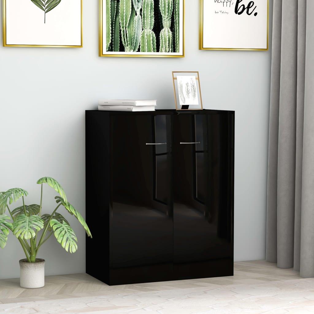 vidaXL Sideboard High Gloss Black 60x30x75 cm Chipboard