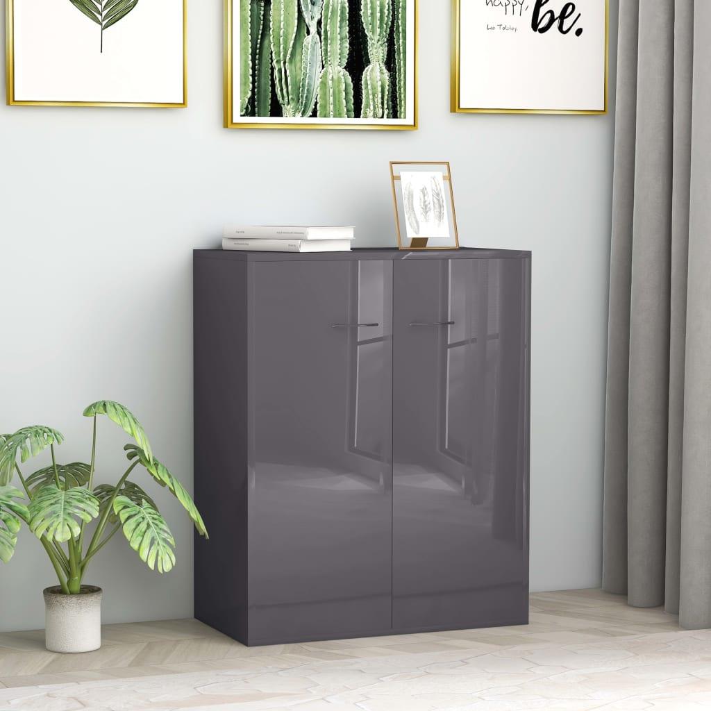 vidaXL Sideboard High Gloss Grey 60x30x75 cm Chipboard