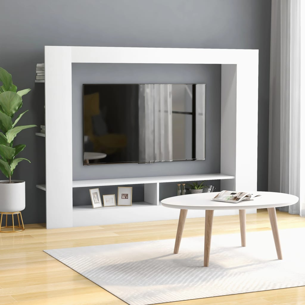 TV stolek bílý 152 x 22 x 113 cm dřevotříska
