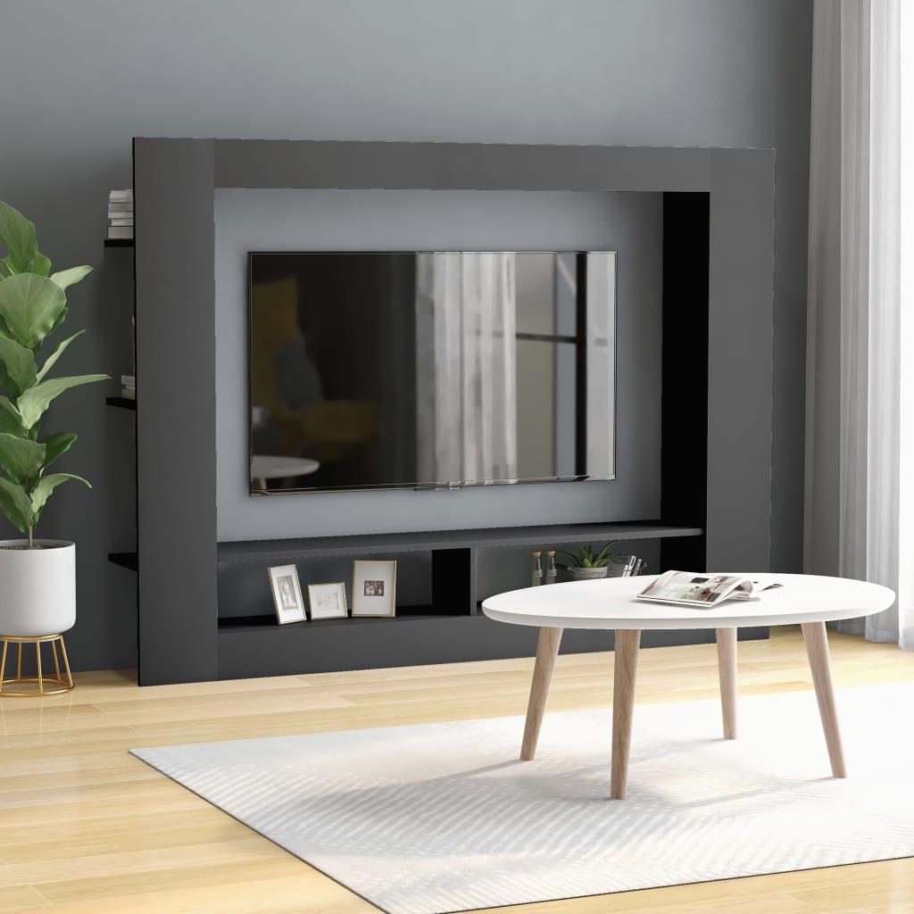 vidaXL TV Cabinet Grey 152x22x113 cm Chipboard