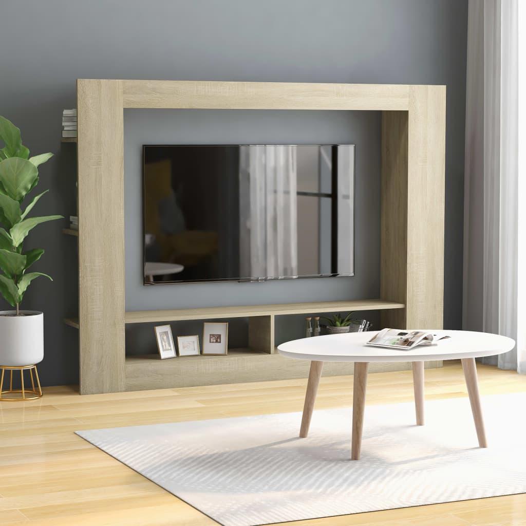 vidaXL TV Cabinet Sonoma Oak 152x22x113 cm Chipboard