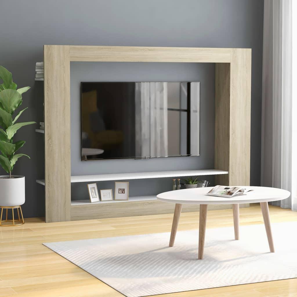 TV stolek bílý a dub sonoma 152 x 22 x 113 cm dřevotříska