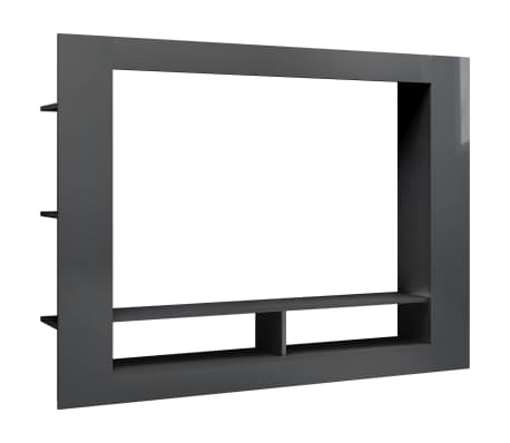vidaXL TV skrinka, lesklá sivá 152x22x113 cm, drevotrieska
