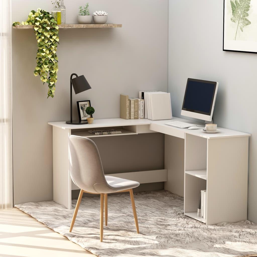vidaXL Rohový psací stůl bílý 120 x 140 x 75 cm dřevotříska